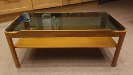 VINTAGE ASTRO SMOKED GLASS TOP COFFEE TABLE