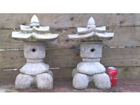Garden Ornaments - Pair of Pagoda Type Garden Ornaments - Chinese - Japanese Style - Pair for £35