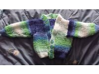 Hand made knitted boys cardigan 0-3 months NEW
