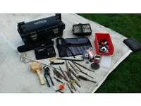 Stanley tool box, new tool belt, random tools, Stanley crowbar