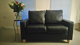 2 Black leather settees - Excellent condition