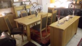 Stunning HOUSING UNITS solid oak dining table 6 chairs & sideboard £2500 from new £995 STALYBRIDGE
