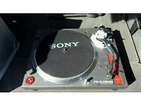 Sony ps-dj 9000 turntables with a 4 chanel mixer.. amp with speakers