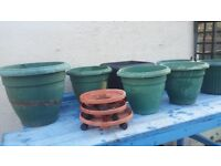 FLOWER POTS ASSORTMENT AND TRAYS WITH WHEELS
