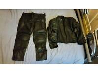 Real leather motor bike jacket and trousers