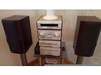 TECHNICS STACKABLE STEREO COMPLETE WITH SPEAKERS AND GLASS STAND
