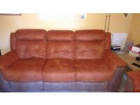 Large 3 seater DFS sofa double electric recliner tan/brown fabric very good condition