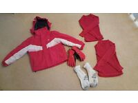 Girls Trespass Ski Jacket and thermal tops, gloves and socks set Age 5-6