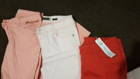 3 pairs of ladies skinny jeans river island and florence & fred size 12 and 14