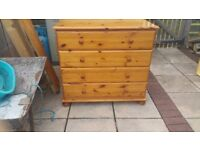 Solid Pine Kingsize Bed snd 2 x 4 drawer chests