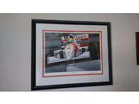 A pair of Ayrton Senna Ltd edition prints.