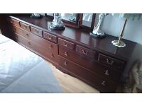 dark wood repro antique bedroom furniture. wardrobes,chests of drawers, bedside cabinets