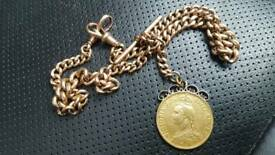 1887 gold double sovereign coin with 9ct gold fob chain