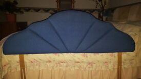 Velour upholstered royal blue double headboard (4ft 6in)