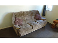 Brown velour three seater settee and chair