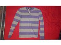 Mens Superdry purple horizontal striped long sleeved t-shirt medium