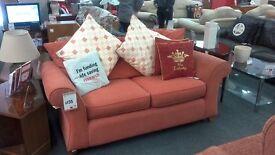 Rose Coloured Fabric 2 Seater Sofa BRITISH HEART FOUNDATION