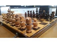 Chess Set - timeless hand wood carved - 1980 Communist Eastern Europe