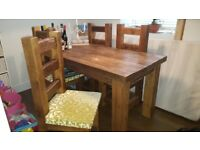 Solid Reclaimed Oak Dining Table and 4 Chairs