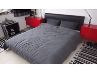 FREE! Superking bed frame, black faux leather, plus mattress.