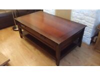 Mahogany Chocolate Coffee Table, Solid Wood, Drawer with Metal Handles