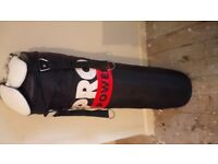 Hanging punch bag 4f in very good condition with gloves