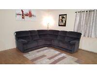Ex-display Cupola dark grey leather electric recliner corner sofa