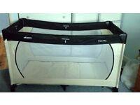 Travel cot, Hauck, cream and black, inc clean mattress & carry bag