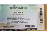 2 Tickets for 15th July Hyde Park Paul simon. James Taylor Bonnie Rait amd others
