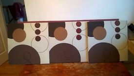 SET OF 3 CANVASES IN CREAM AND BROWN