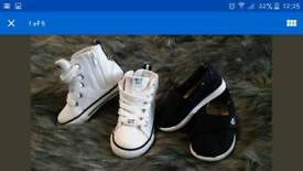 Boys hi top trainers and espadrilles shoes size 4 white navy £15 ono