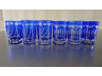 6 x Handcrafted Blue Cut Tea glasses or Tea light holders – Beautiful – New boxed
