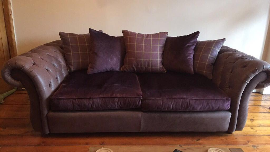 Swell Large Leather Chesterfield Sofa Deep Purple Now Sold In Chester Cheshire Gumtree Squirreltailoven Fun Painted Chair Ideas Images Squirreltailovenorg