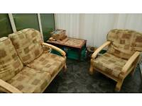 Solid wood conservatory furniture - 2-seater & 2 chairs