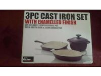 3PC Cast Iron Set with Enamelled Finish BRAND NEW NEVER OPENED OR USED