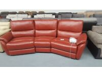 teo 3 seater curve red leather