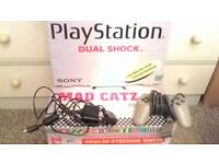ORIGINAL BOXED PLAYSTATION CONSOLE & GAMES & STEERING WHEEL IN EXCELLENT WORKING ORDER