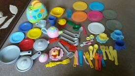 Plastic play kitchen toaster, pots, pans, cutlery