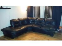 Free delivery - Black leather dfs corner couch sofa used big corner seat no swaps