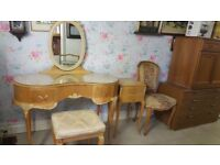 Vintage Olympus Maple Kidney Shaped Dressing Table,Bedside Cabinet, Stool & Chair Bought In Harrods