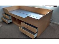 Cabin Bed, 3ft single bed, wood effect with drawers and storage.