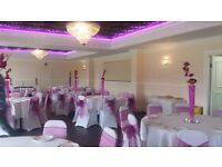 Wedding and Party set up By Precise Events including chair covers, balloons, Sweet table