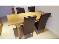 Oak Dining Table and 6 leather effect Chairs, Excellent Condition