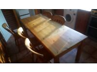Solid pine table with 5 chairs