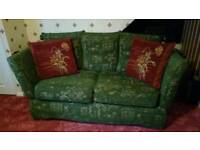2 and 3 seater settee where the sides fold down to make beds with pouffe