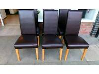 Dinning chairs set of six leather