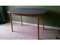 Mid Century Upcycled Dining Room Table Grey Chalk Paint
