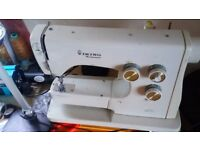 Excellent, heavy duty Husqvarna Free Arm Sewing Machine with extension table and control pedal.
