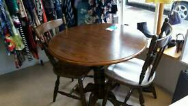 Dark Wood Round Table with 2 Chairs