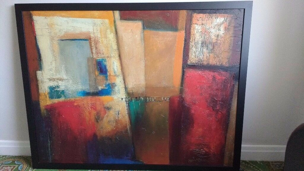 Large Ikea Textured Canvas Wall Art Oil Painting By